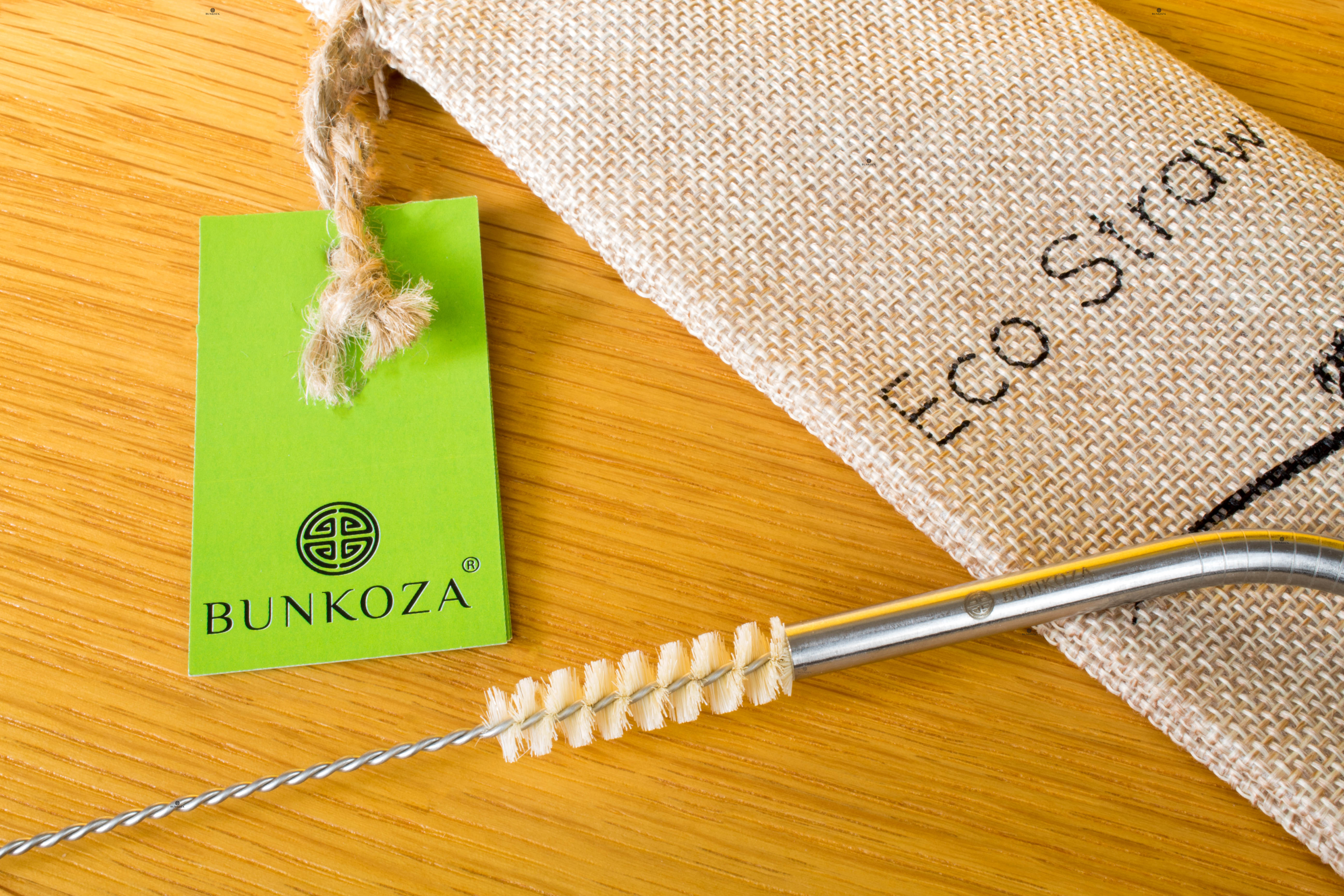 Bunkoza® Eco Straws Classic - Stainless Steel Drinking Straw + Eco Jute  Pouch + Eco Sisal Universal Cleaner - 8 pack