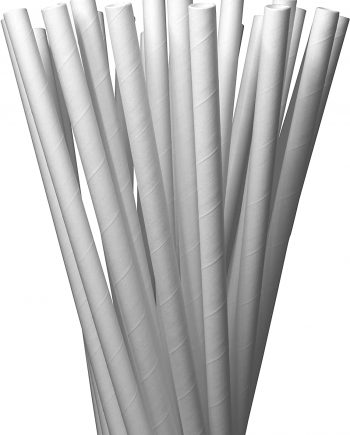 White Solid Paper Eco Straws - Smoothie Wider 8mm/200mm - 350 straws pack