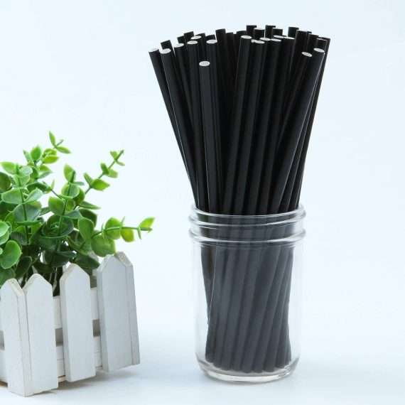 Black Solid Paper Eco Straws Individually Wrapped - Normal length 200mm/6mm - Individual Sleeved 2000 straws pack
