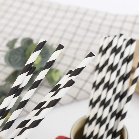Black Stripe Paper Eco Straws - Normal length 200mm/6mm - 250 straws pack