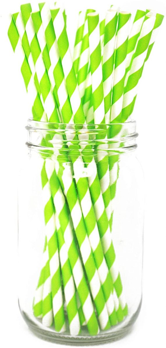 Green Stripe Paper Eco Straws - Normal length 200mm/6mm - 250 straws pack