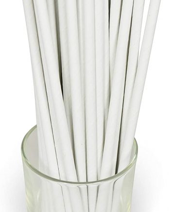 Wholesale White Solid Paper Eco Straws - Normal length 200mm/6mm - 250 straws pack